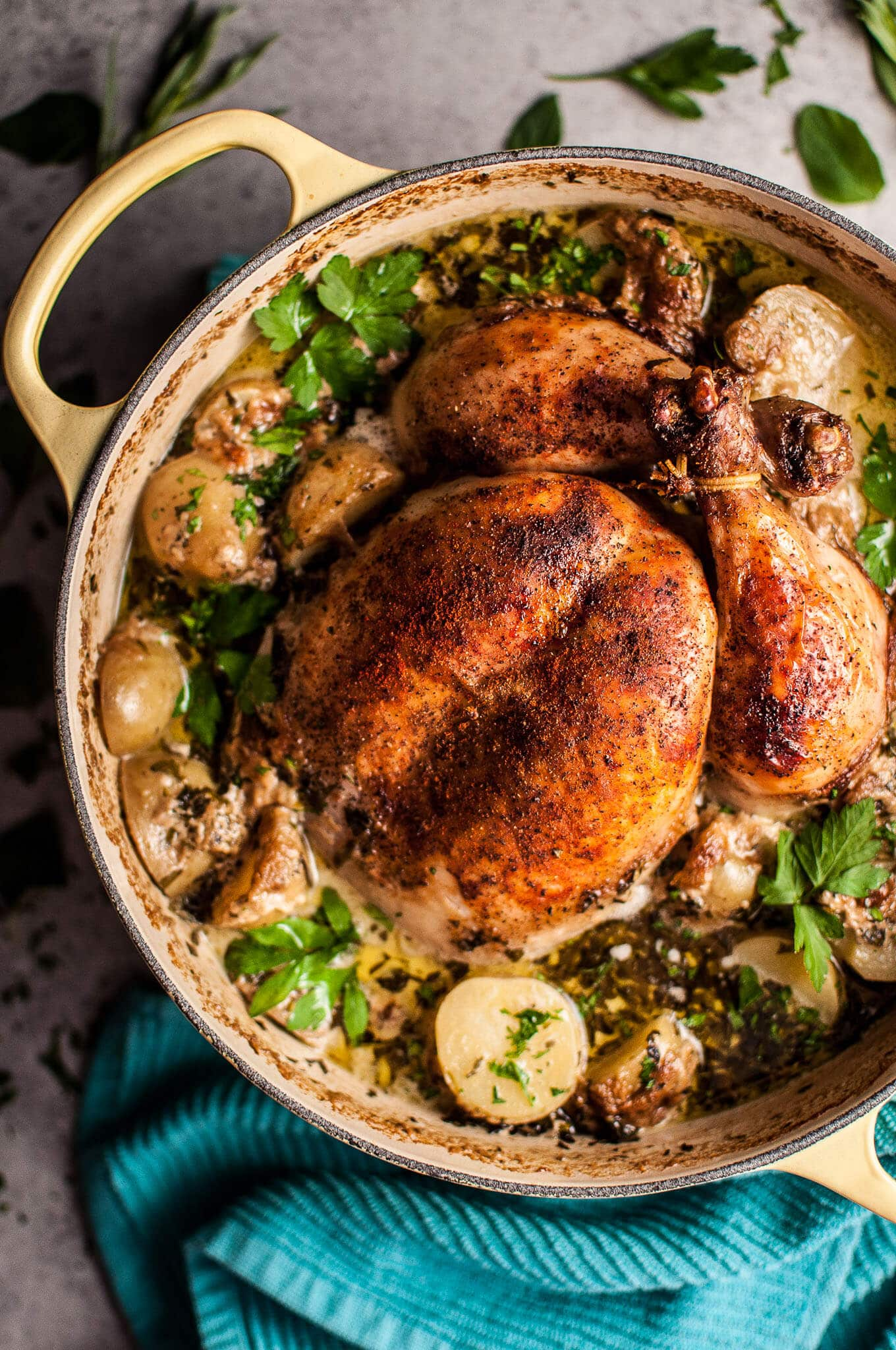 Creamy Lemon And Herb Pot Roasted Chicken Salt Lavender