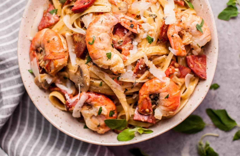 Creamy Shrimp and Chorizo Pasta with Mushrooms • Salt ...