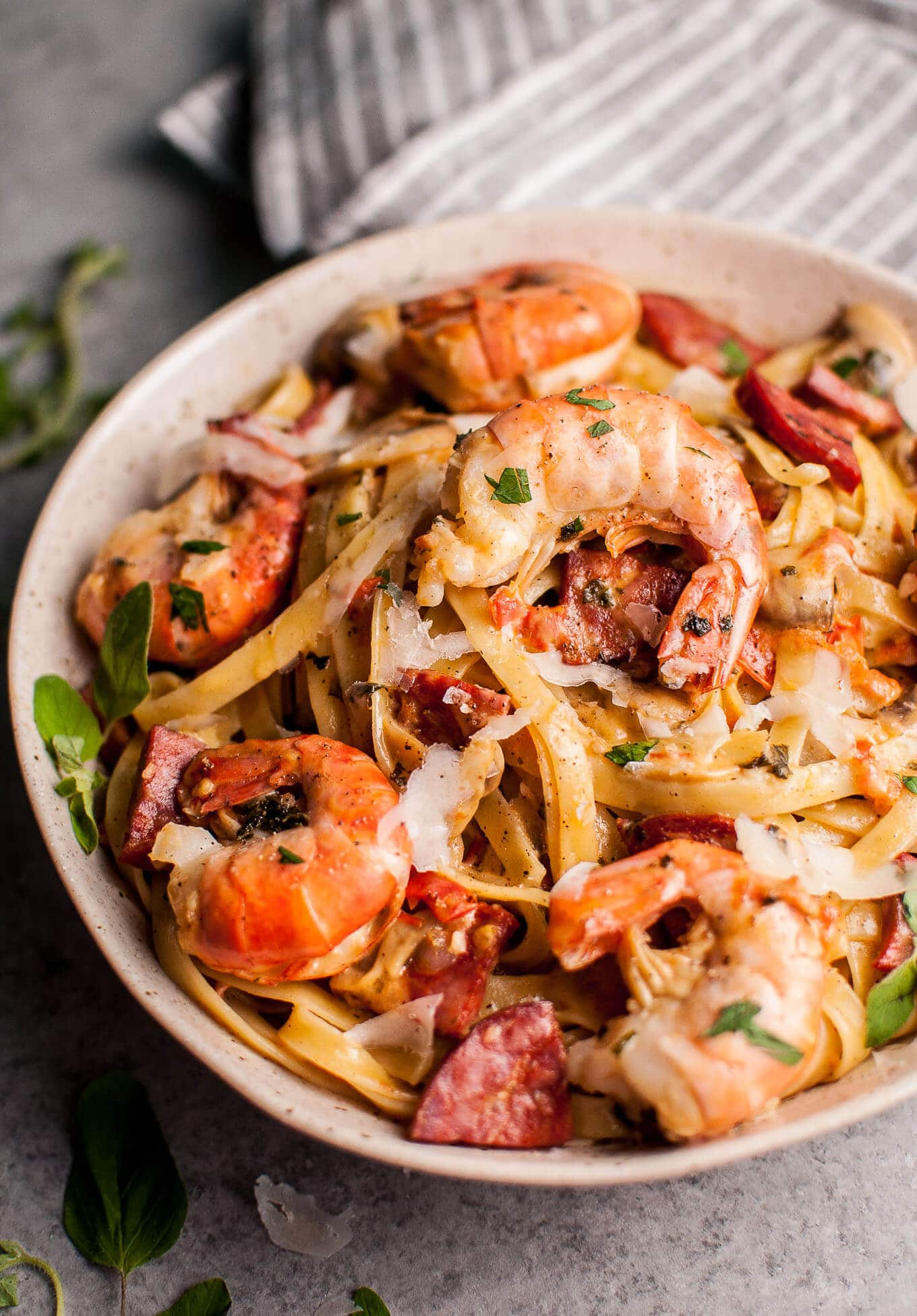 This quick and simple shrimp and chorizo pasta with mushrooms is full of flavor and won't disappoint!