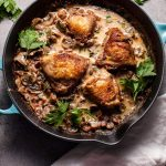 You'll love this crispy chicken in a creamy bourbon sauce with pancetta and mushrooms!