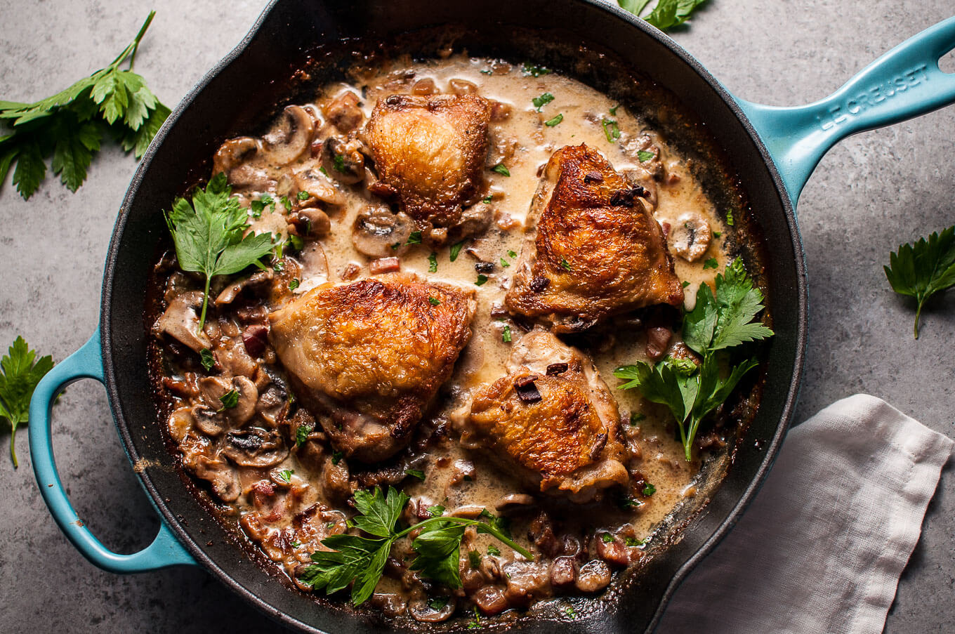 Crispy Chicken with Pancetta, Mushrooms, and Bourbon • Salt ...