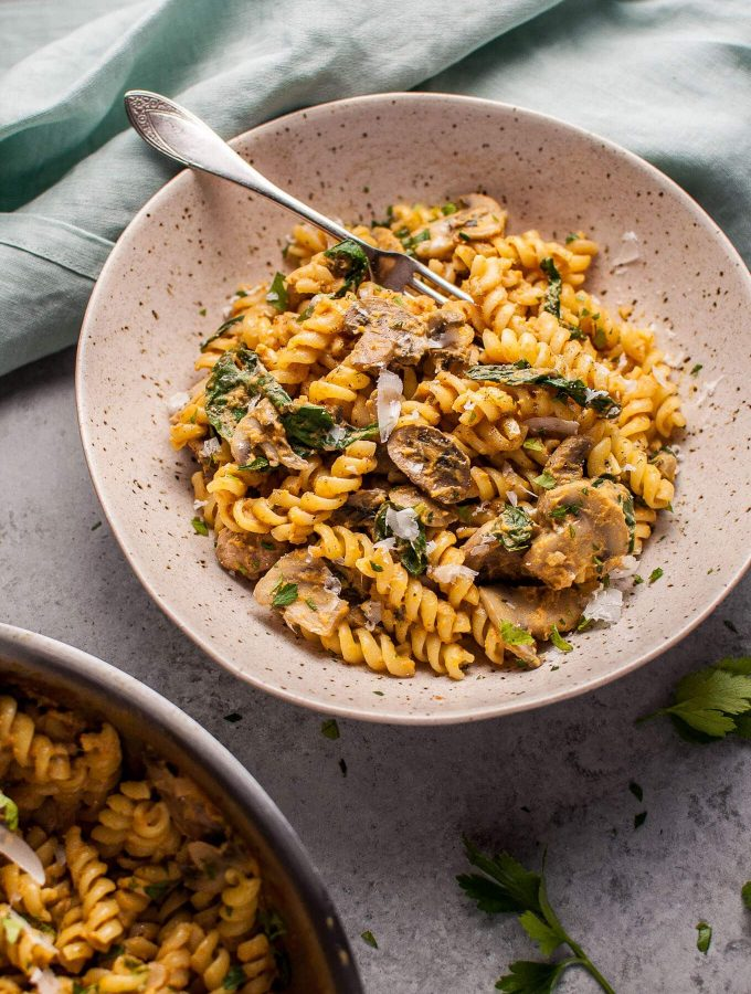 Pumpkin, mushroom, and spinach pasta is a healthy, comforting, and ...