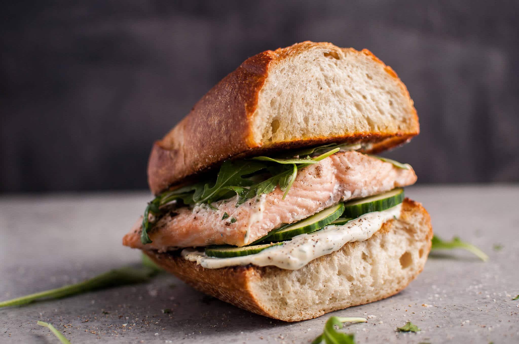 Easy Baked Salmon Sandwich With Zesty Lemon Mayo And