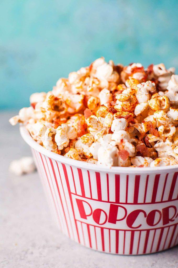 close-up of bowl of sriracha bacon popcorn