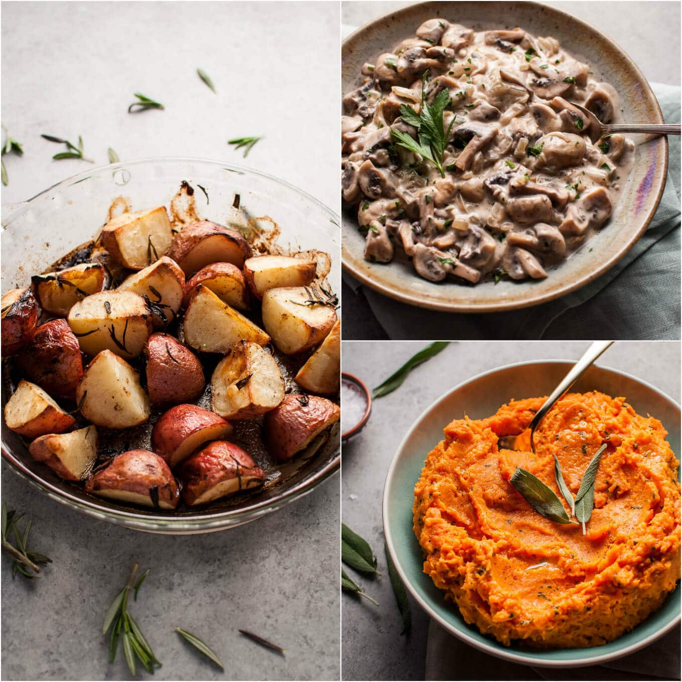 Mushroom Side Dishes, Potato Side Dishes, Vegetable Side Dishes, Vegetable Recipes, Mushroom Dish, Vegetarian Recipes, Party Side Dishes, Roasted Potatoes, Roasted Vegetables Find this Pin and more on B I T E S by Jessica James Rabins Western Artist.