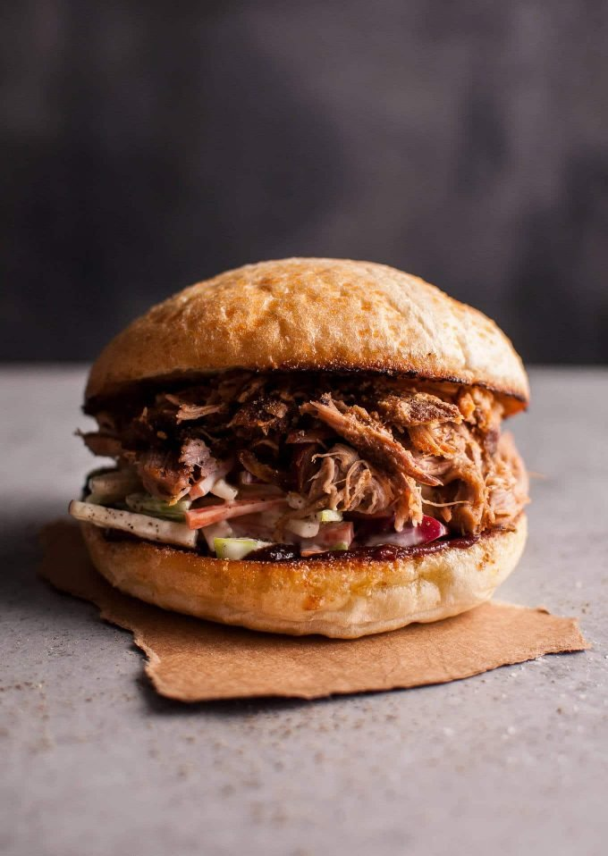Slow Cooker Pulled Pork Sandwich With Apple Slaw Salt Lavender