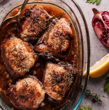 My pomegranate lemon roasted chicken is sure to become a cold weather favorite! With only 10 minutes prep time, you can sit back and relax as your kitchen fills with the aroma of tender, crispy-skinned chicken roasting in the herb-citrus pomegranate sauce.