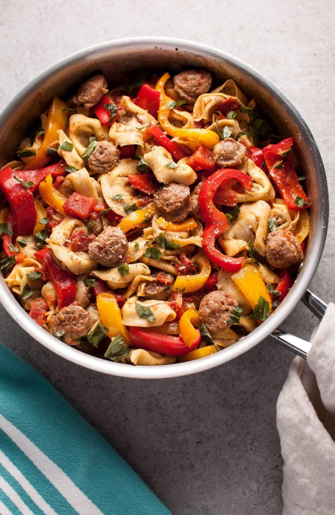 Tortellini with sausage and peppers - an easy way to make store-bought tortellini more exciting!