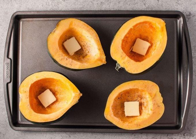 acorn squash halves with butter