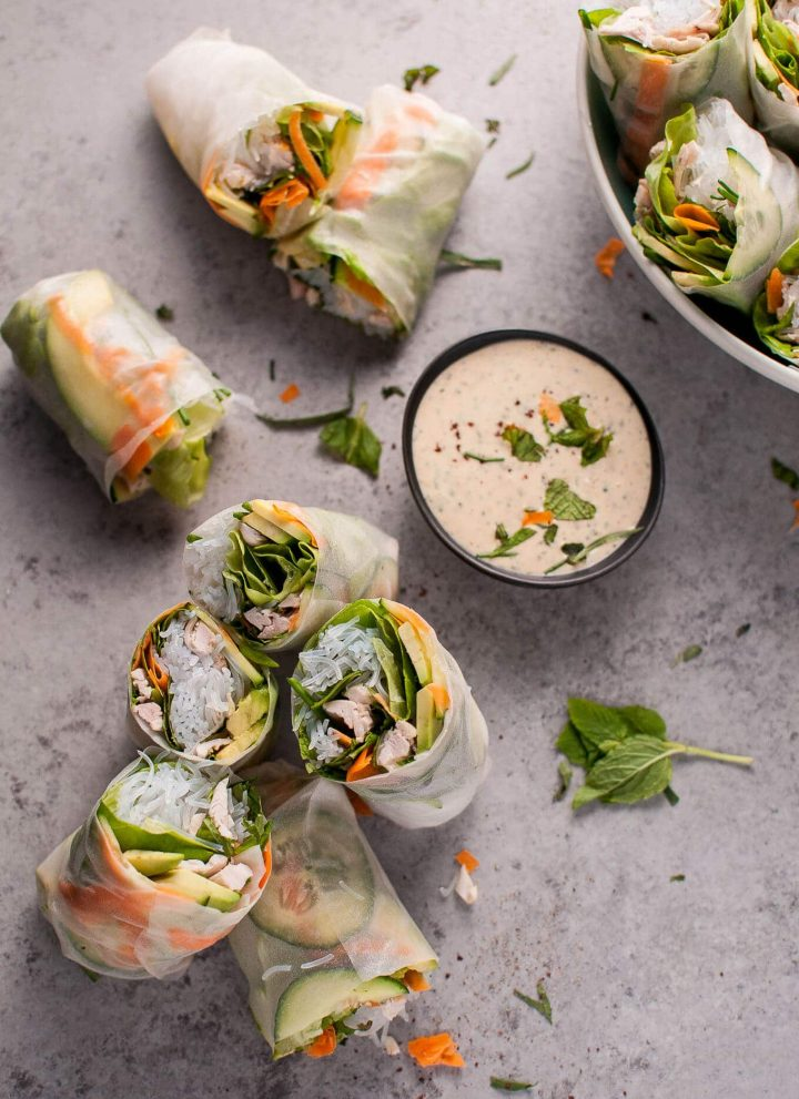 Chicken salad rolls with miso tarragon dipping sauce are a fresh and creative way to use up leftover chicken!