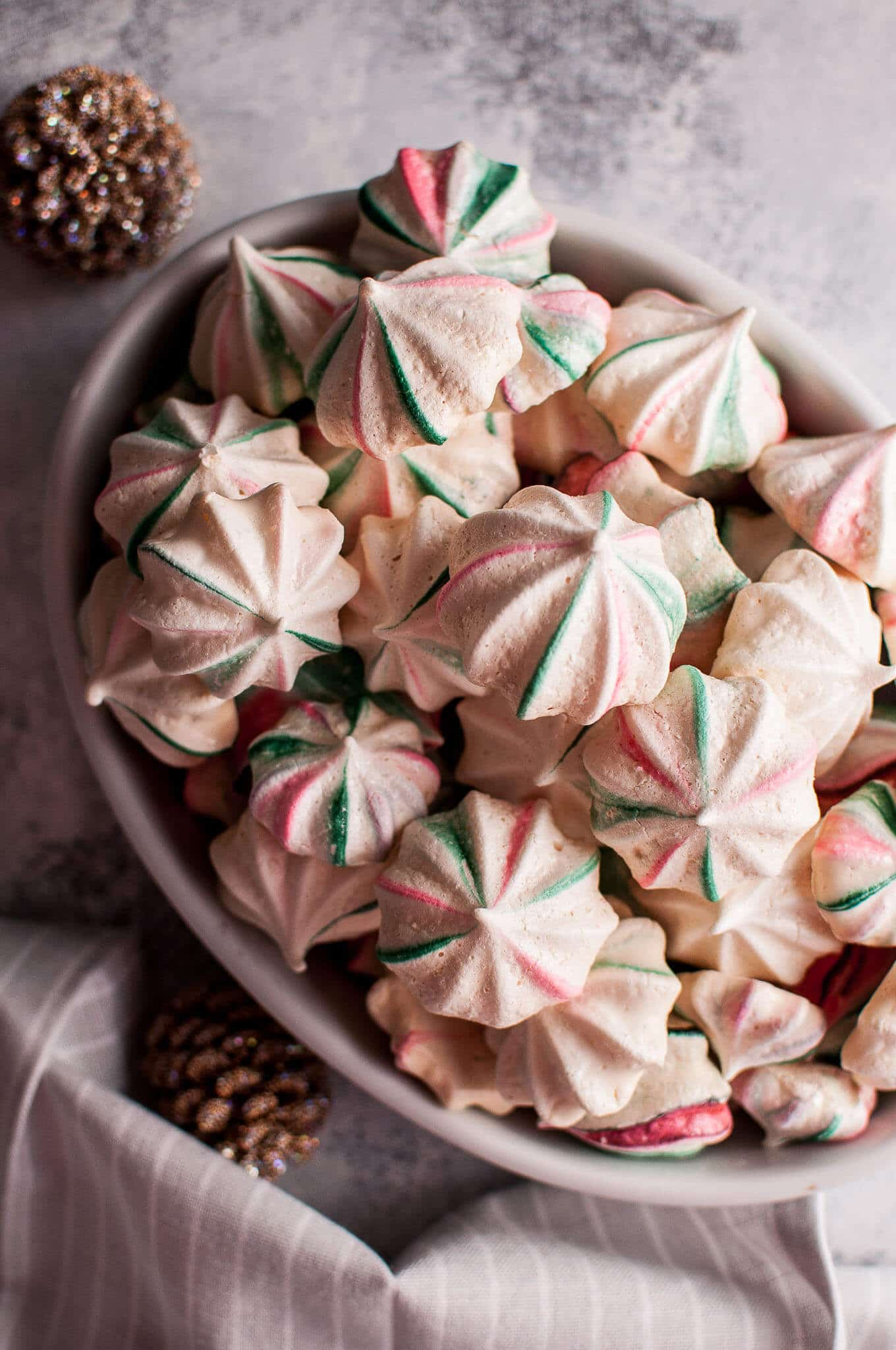 Red And Green Striped Christmas Meringue Cookies