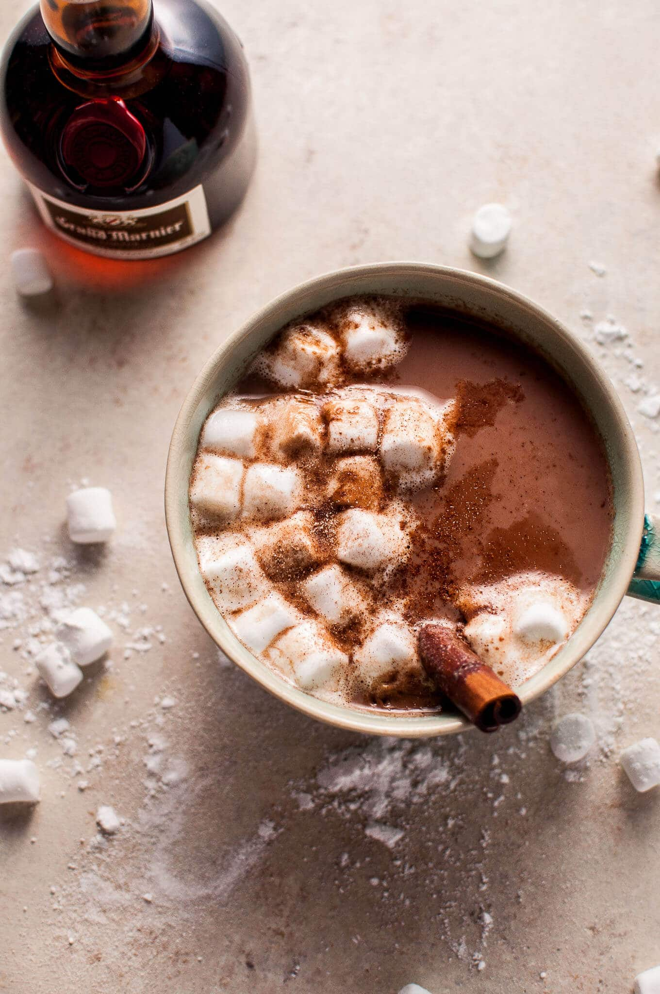 This orange spiked boozy hot chocolate is a grown-up way to enjoy the comforting winter beverage.