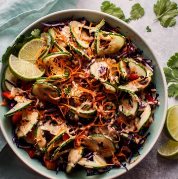 This spiralized Thai salad is fresh, healthy, and has the most delicious cilantro-lime-peanut dressing.