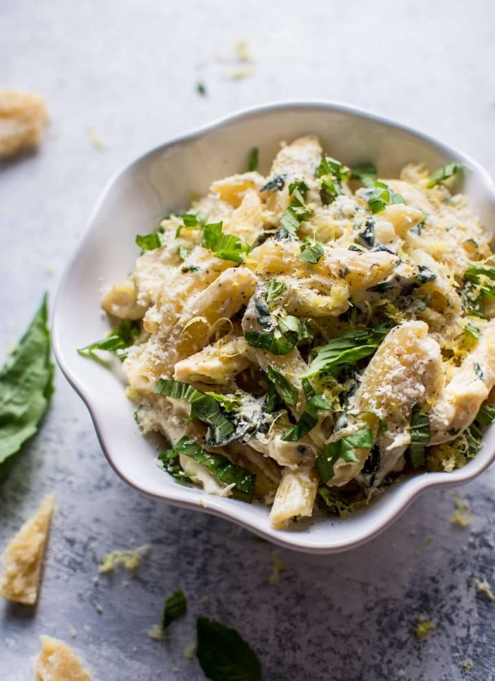 This creamy lemon basil pasta is a rich yet fresh vegetarian pasta dish that is ready in only 20 minutes!