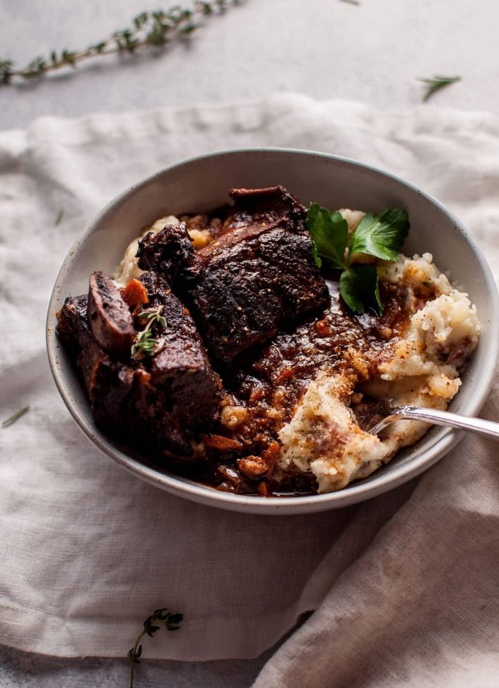 My Crockpot red wine braised short ribs are the ultimate cold weather comfort food!