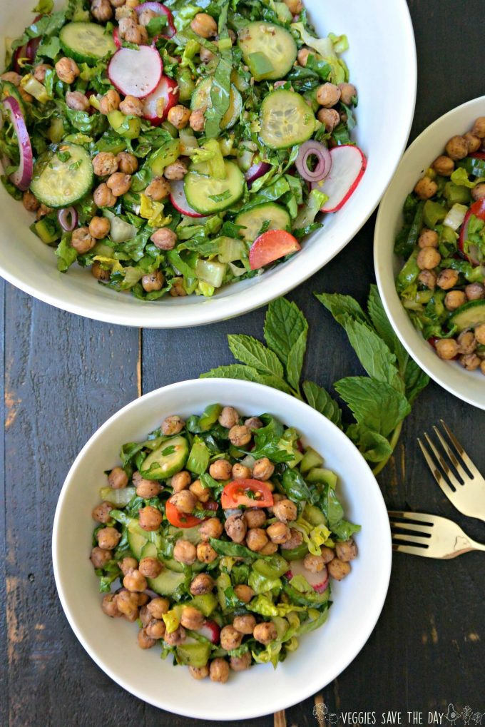 roasted chickpea fattoush salad in bowls with forks