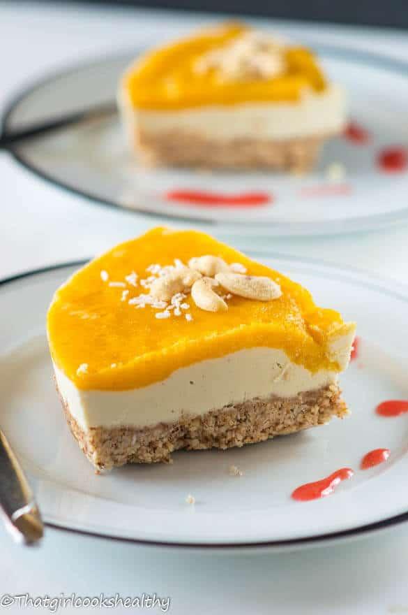 slice of no-bake mango cheesecake on a plate