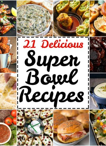 All sorts of goodies ranging from not-so-healthy to somewhat healthy in this roundup of 21 delicious Super Bowl Party Recipes.