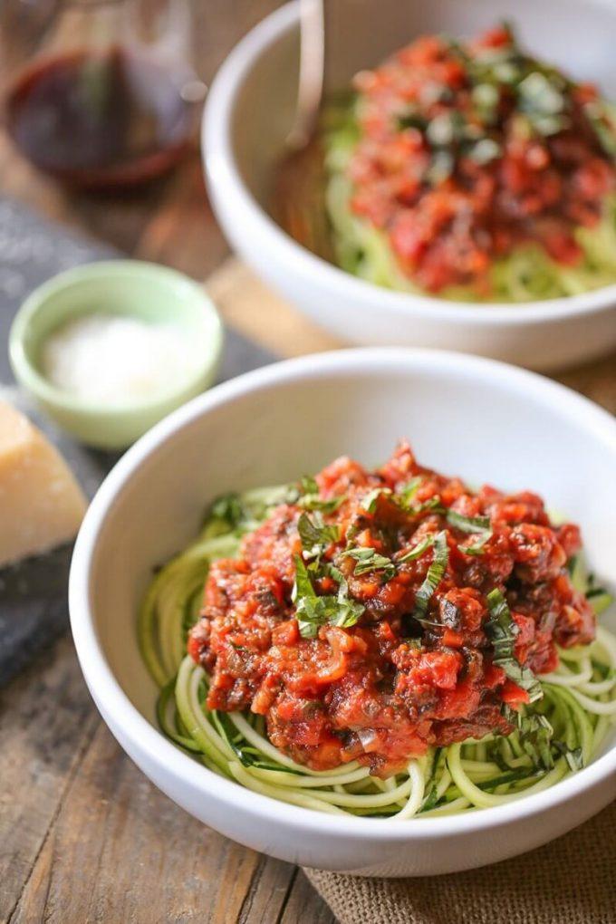 zucchini noodles with portobello bolognese in a bowl