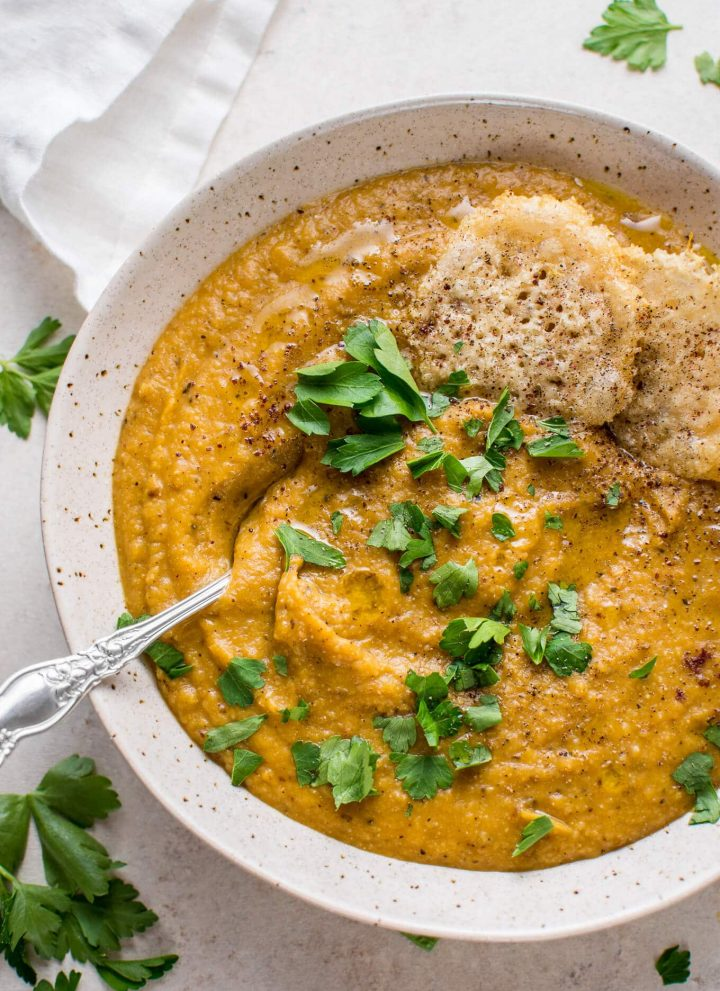 My roasted butternut squash and cauliflower soup with coconut milk is rich, silky, cozy, healthy, and full of flavor.