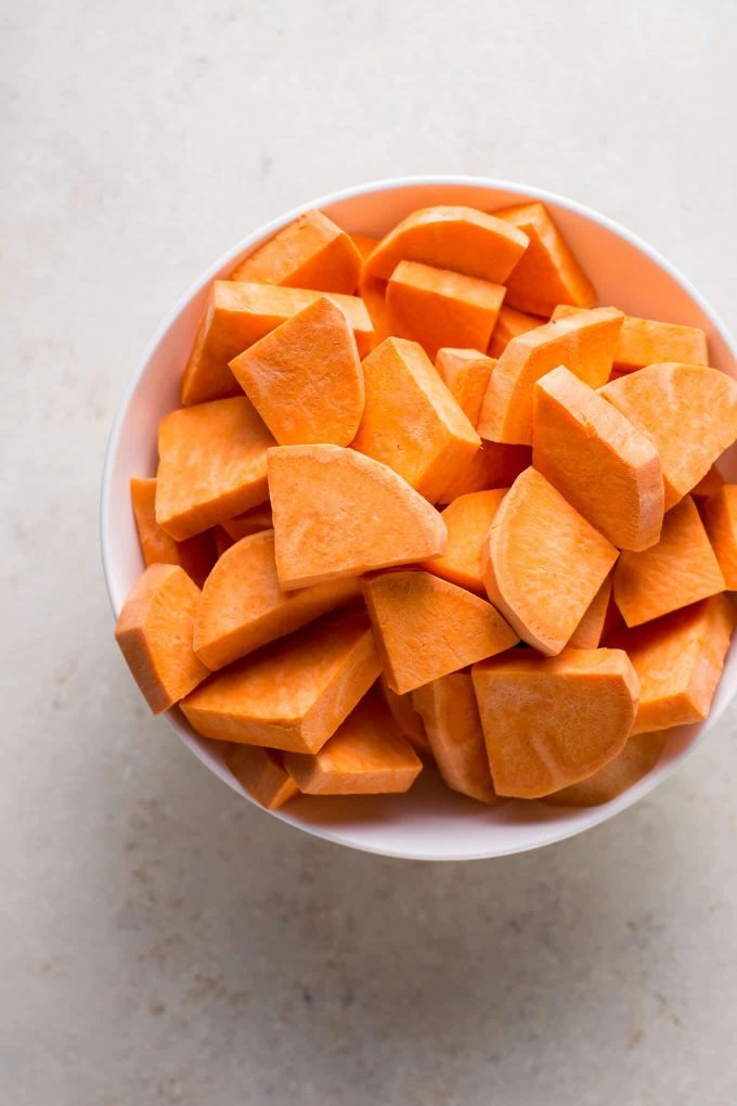 Sweet potatoes for vegan coconut curry recipe