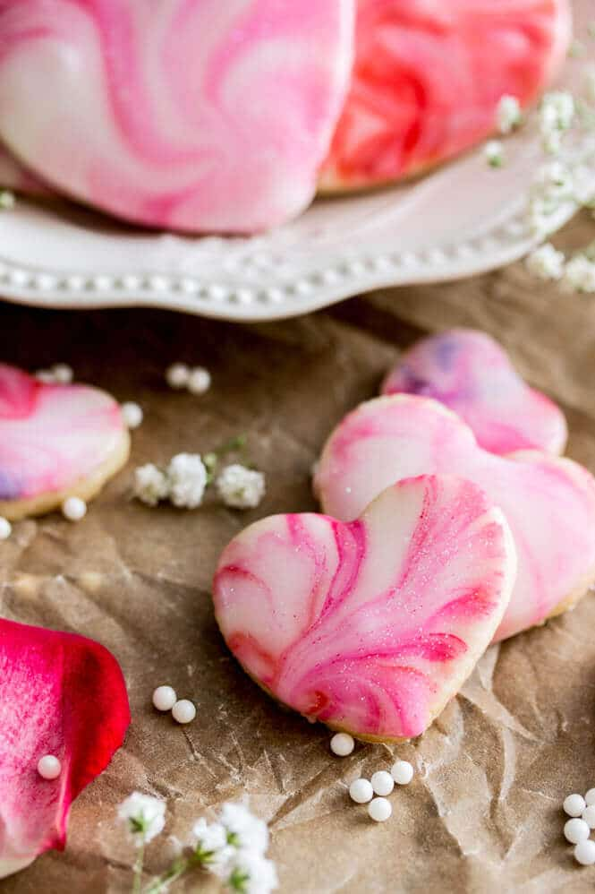 close-up of heart cookies with marble glaze