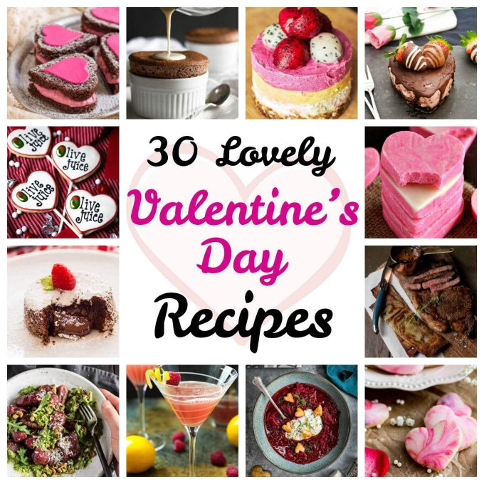 collage with several photos and text overlay that reads 30 lovely valentine's day recipes