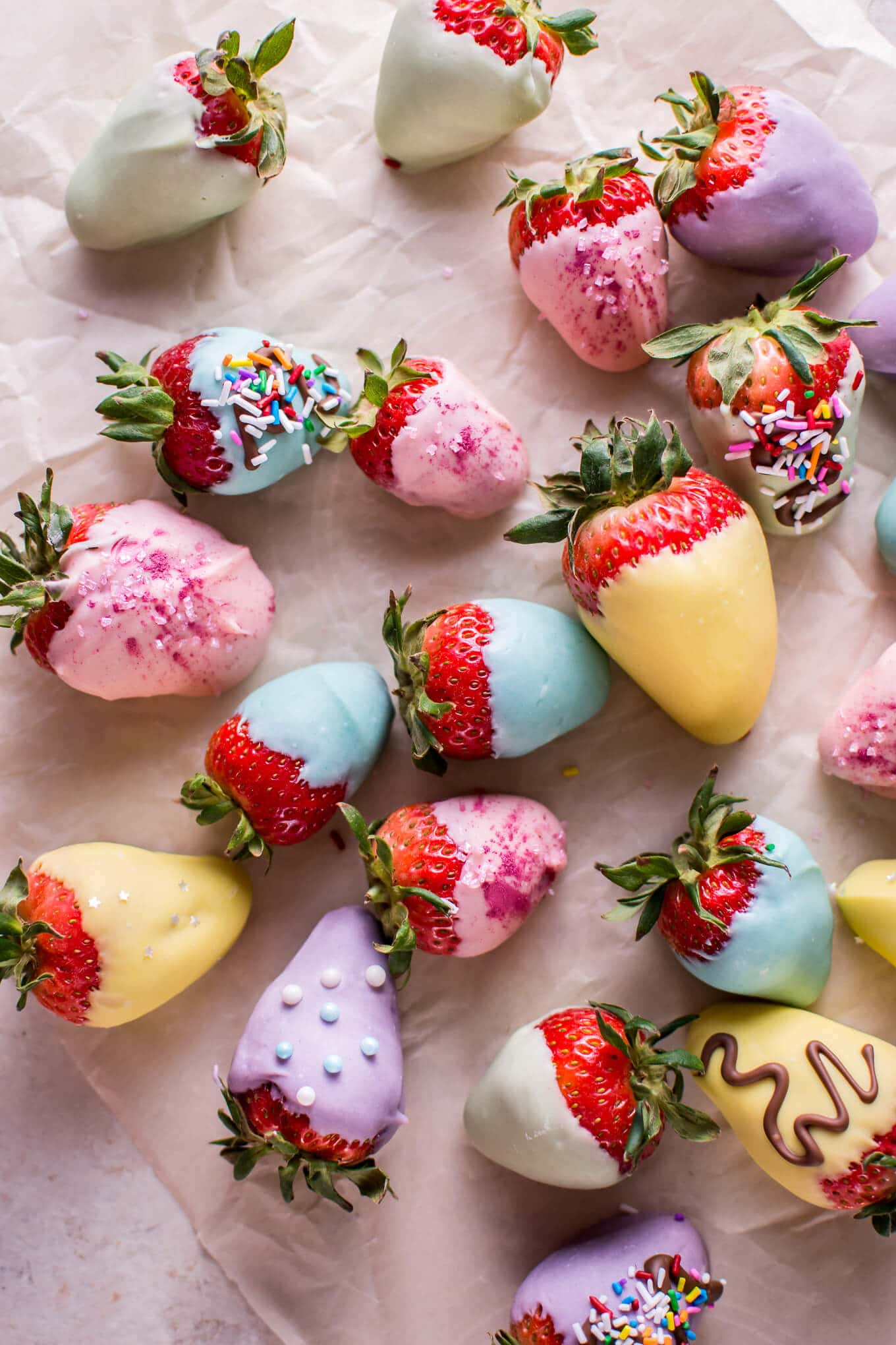 Easter Pastel-Colored Chocolate Covered Strawberries • Salt & Lavender
