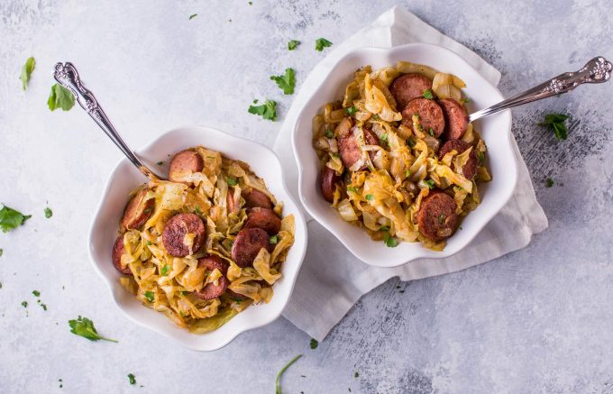 All you need is a few simple ingredients to make this tasty sautéed cabbage and kielbasa! Your family will love this delicious comfort food.