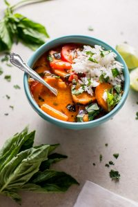 This Thai sweet potato coconut red curry is a hearty vegan meal that's healthy, flavorful, comforting, and filling.