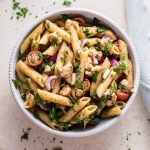 This balsamic caprese pasta salad is a fresh, quick, and simple vegetarian side dish that's perfect for picnics or BBQs.