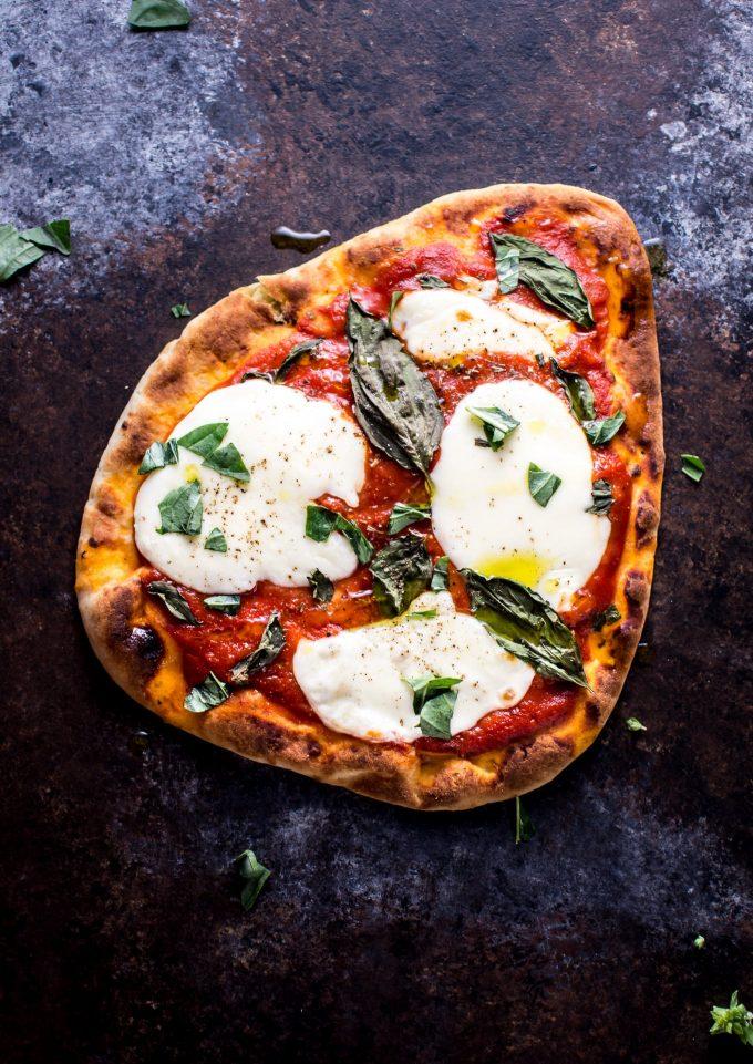 slice of Margherita naan pizza