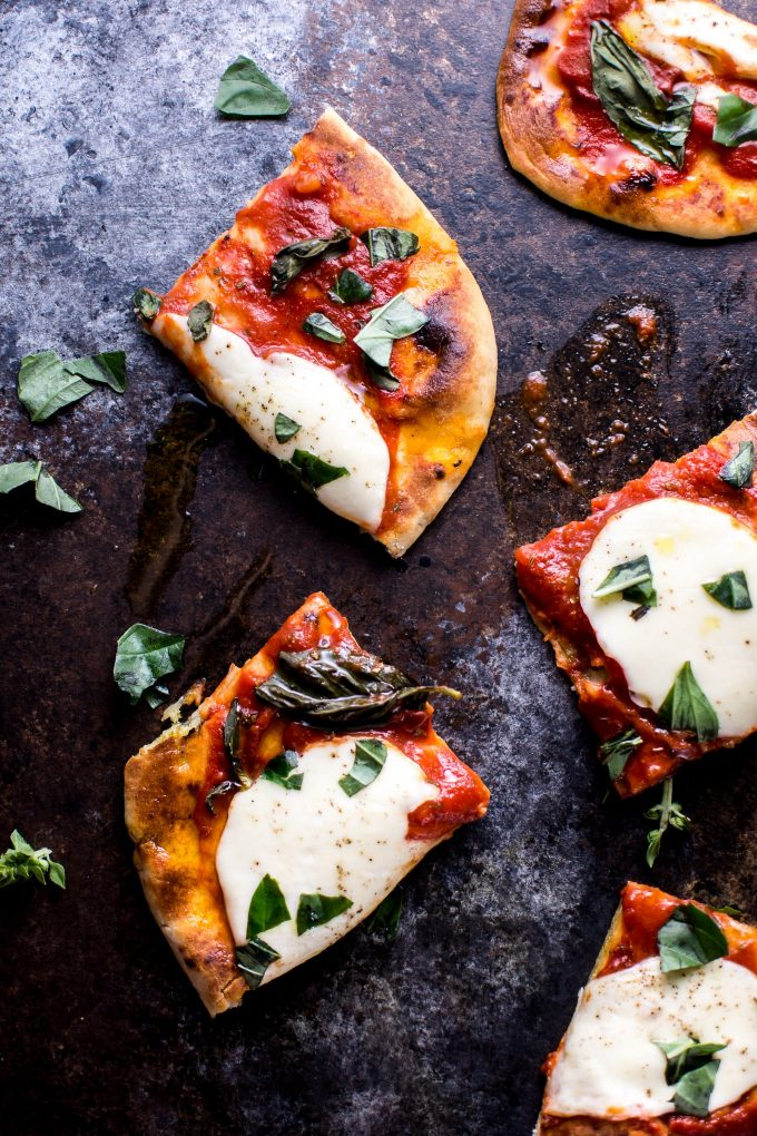 a few slices of naan Margherita tomato, basil, and mozzarella pizza