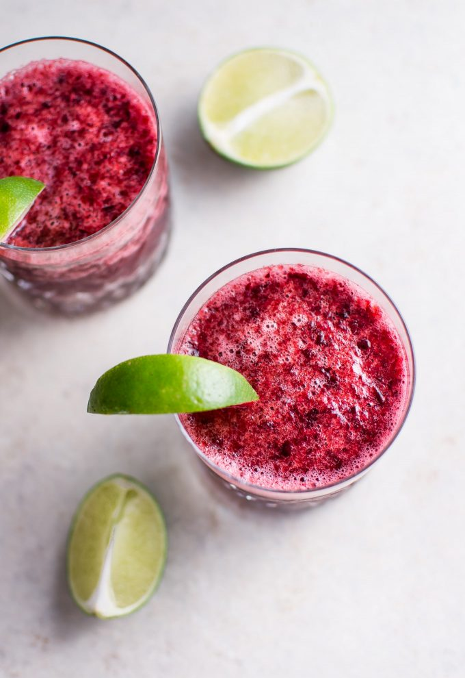 This cherry moscato slush is a refreshing 2-ingredient drink that you can blend up in a flash.