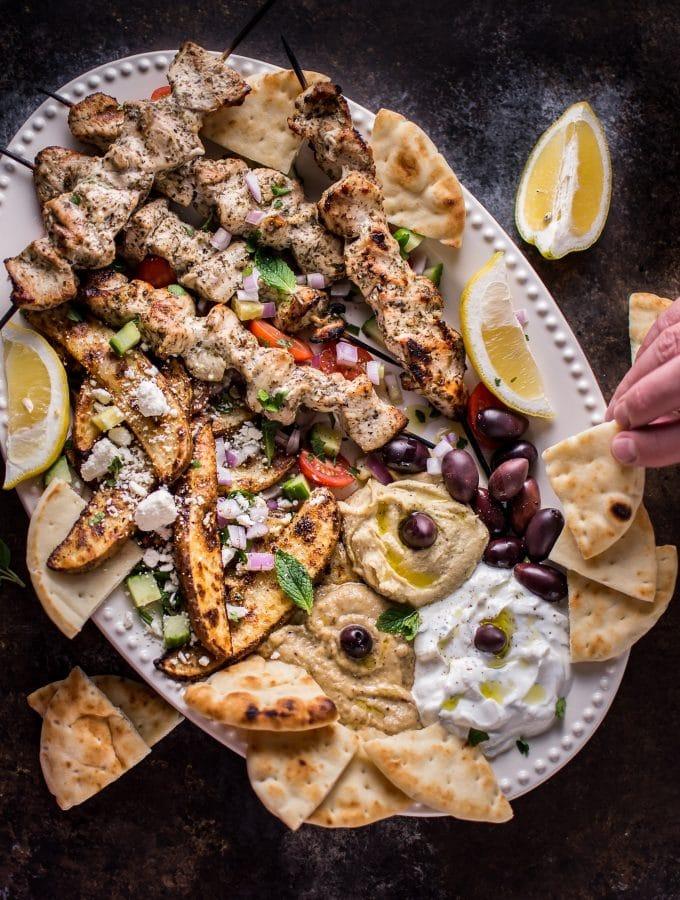 Ultimate Greek Chicken Souvlaki Platter