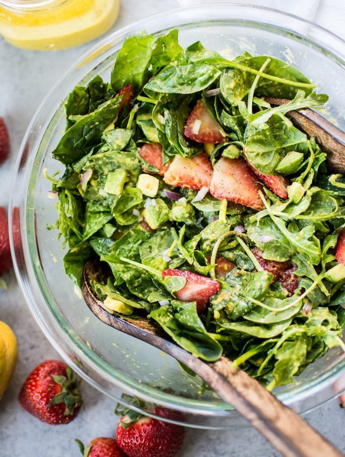 Strawberry Spinach Salad with Mango Dressing