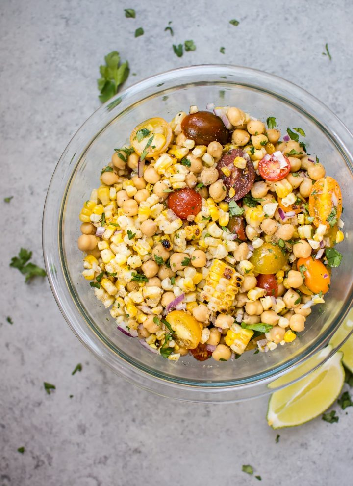 This summery grilled corn and chickpea salad makes a light and fresh side dish with only a handful of ingredients.