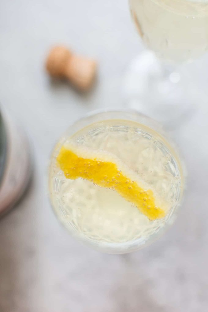 close-up of glass of easy lemon champagne cocktail