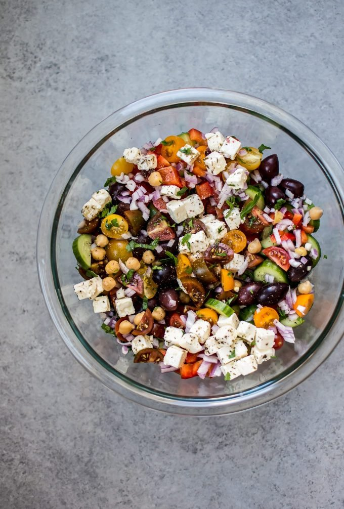 glass bowl with Greek chickpea salad
