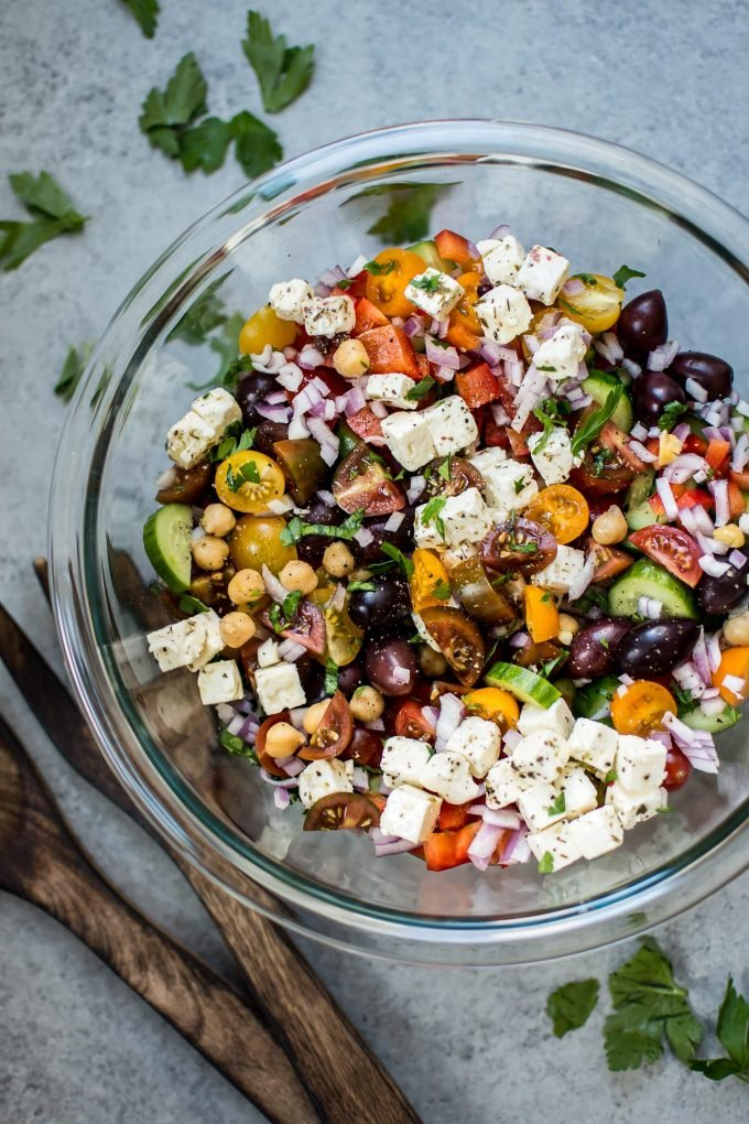 glass bowl with hearty Mediterranean chickpea salad