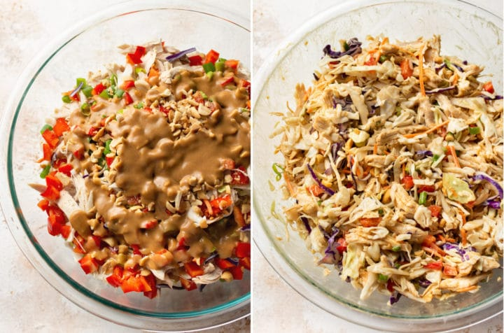 Thai chicken salad collage (salad in glass prep bowl with dressing drizzled over top, and second photo with the same salad but tossed)