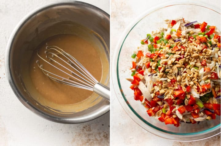 Thai chicken salad collage (dressing and whisk in prep bowl and salad without dressing in another prep bowl)