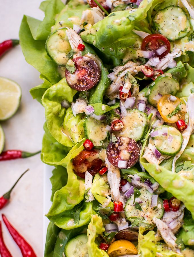 This Thai chicken salad with peanut dressing is quick, easy, and fresh. A great way to use leftover or rotisserie chicken!