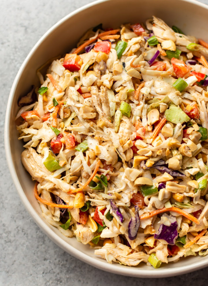 close-up of Thai chicken salad in serving bowl