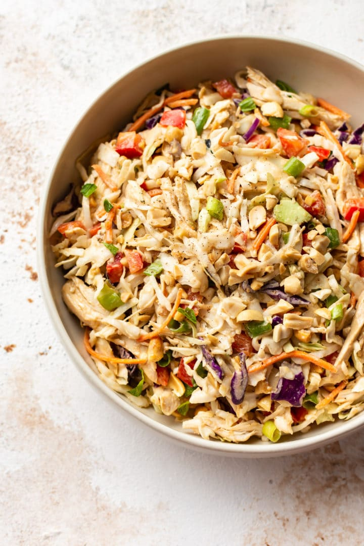 easy Thai chicken salad in a serving bowl