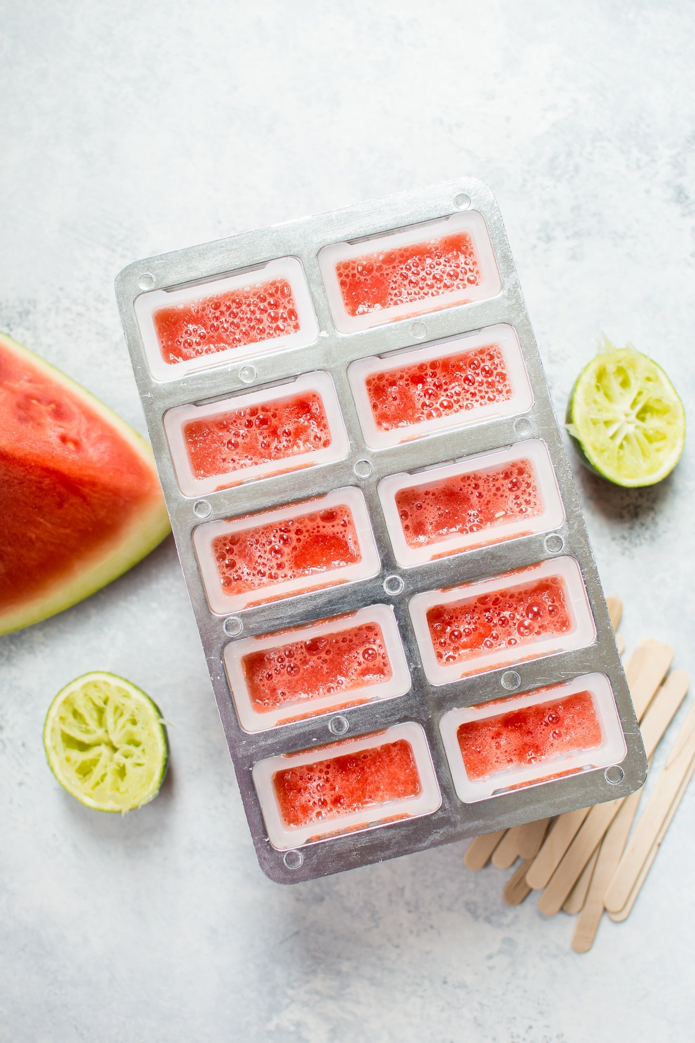 These watermelon margarita popsicles with no added sugar are naturally sweet, refreshing, and perfect on a hot summer day!