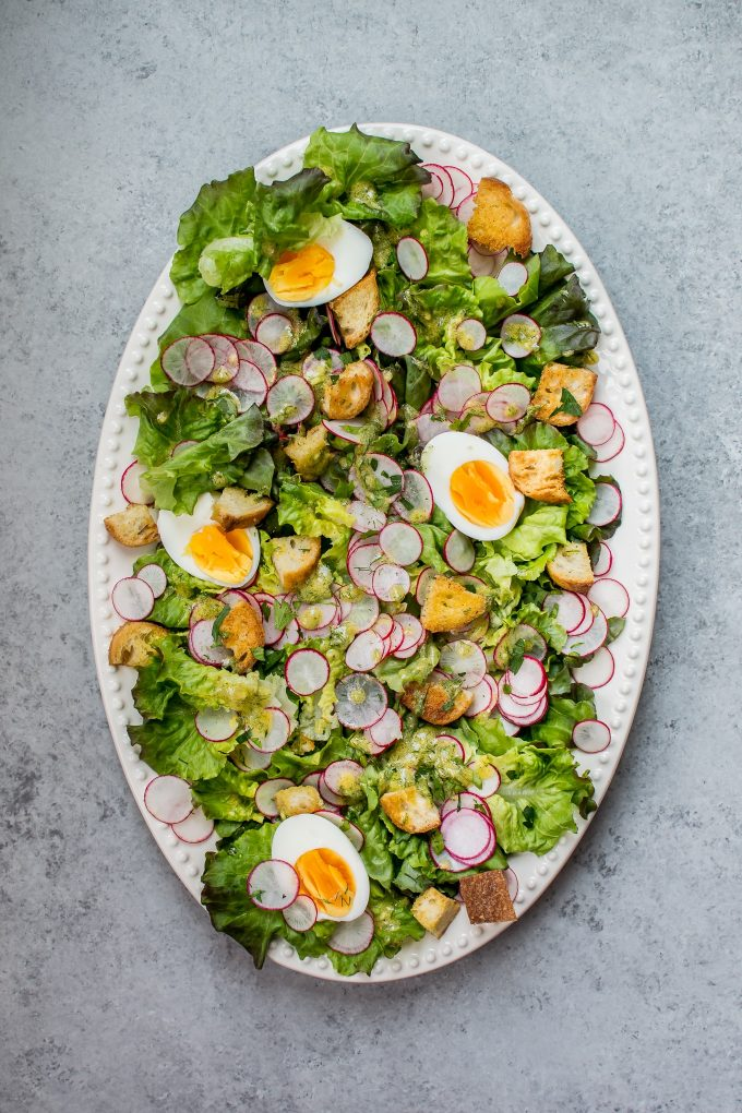 This butter leaf lettuce salad with a lemon dill dressing, garlic croutons, hard-boiled eggs, and radishes is the perfect easy-to-make showstopping summer salad!