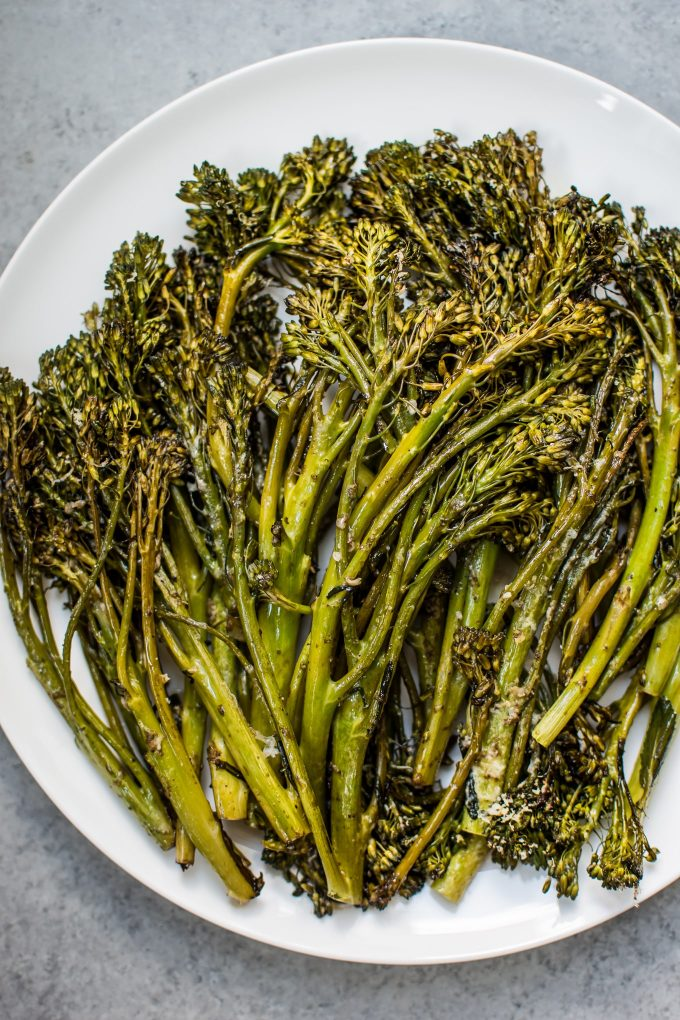 This balsamic parmesan roasted broccolinihas the delicious flavors of parmesan cheese and balsamic vinegar. It only takes a few minutes to prepare and 15 minutes to cook.