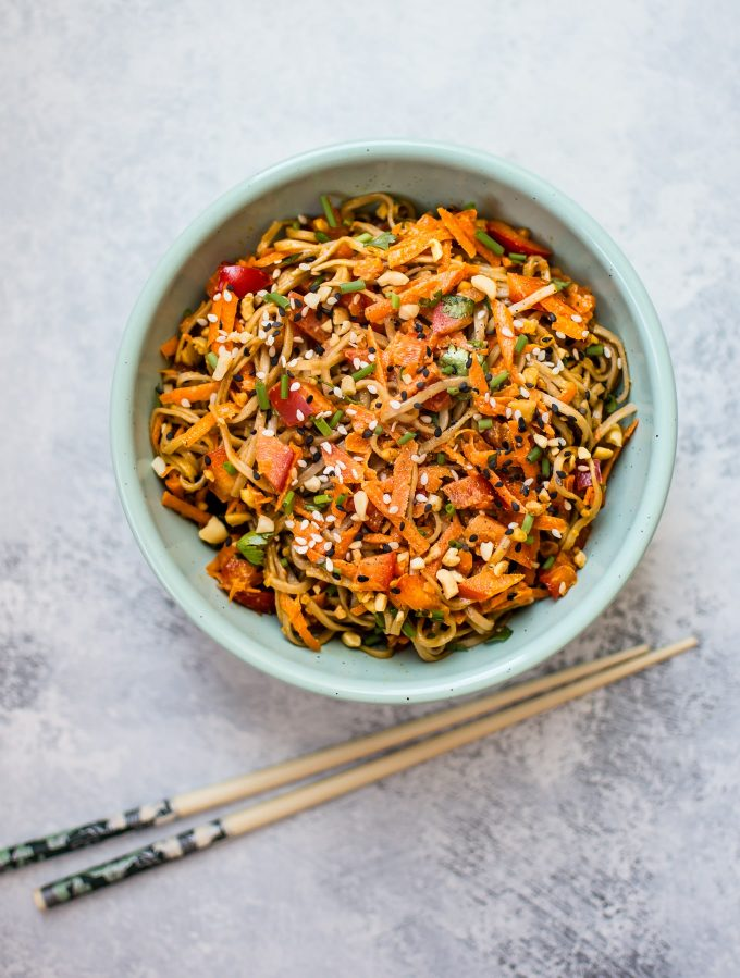 This cold soba noodle salad with a spicy peanut sauce is an incredibly flavorful vegan meal with the perfect amount of crunch and freshness.