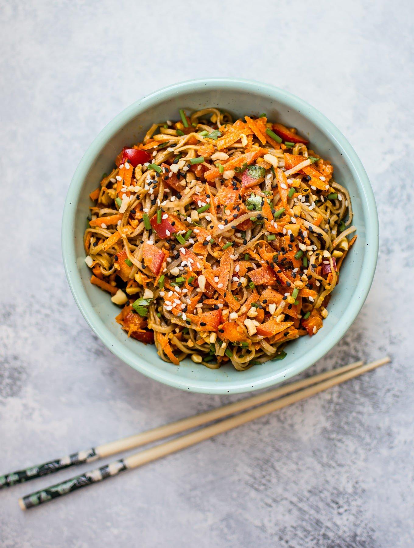 cold soba noodle salad with a spicy peanut sauce • salt